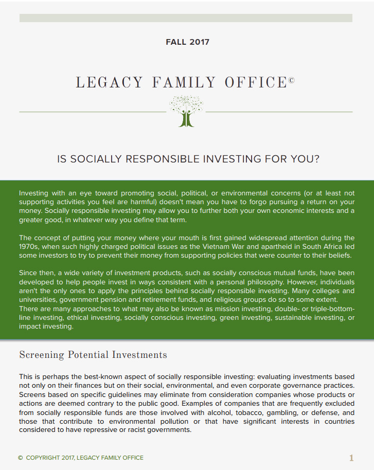 Socially Responsible Investing – Is It For You?
